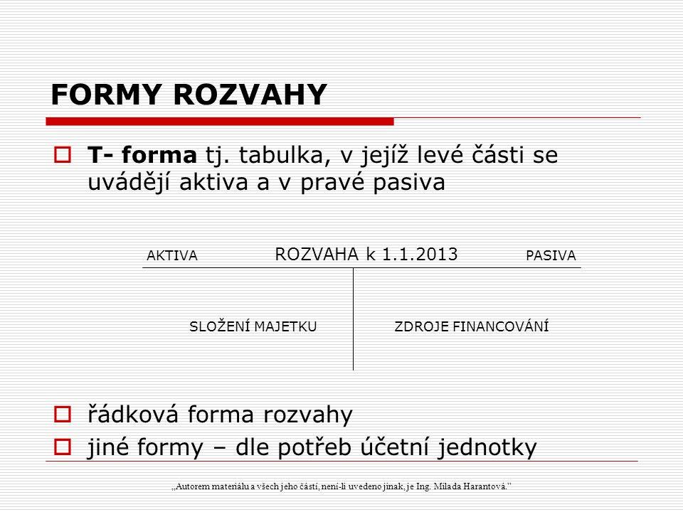 FORMY ROZVAHY  T- forma tj.