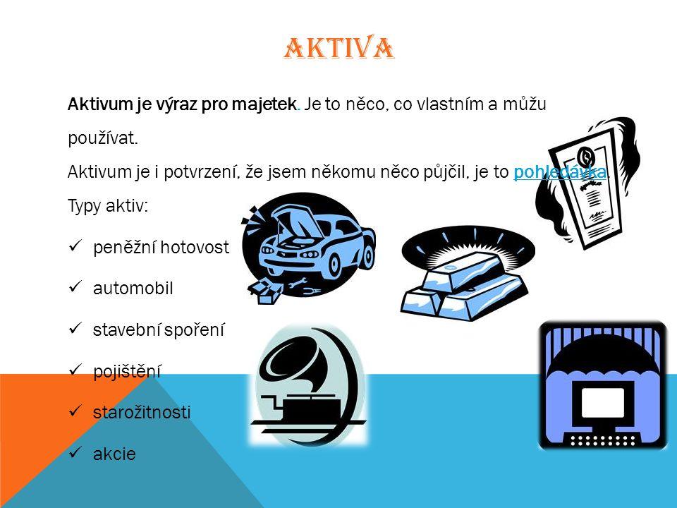 AKTIVA Aktivum je výraz pro majetek. Je to něco, co vlastním a můžu používat.
