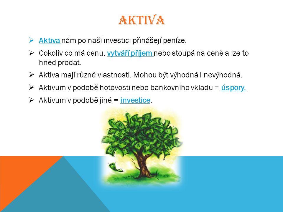 AKTIVA  Aktiva nám po naší investici přinášejí peníze.