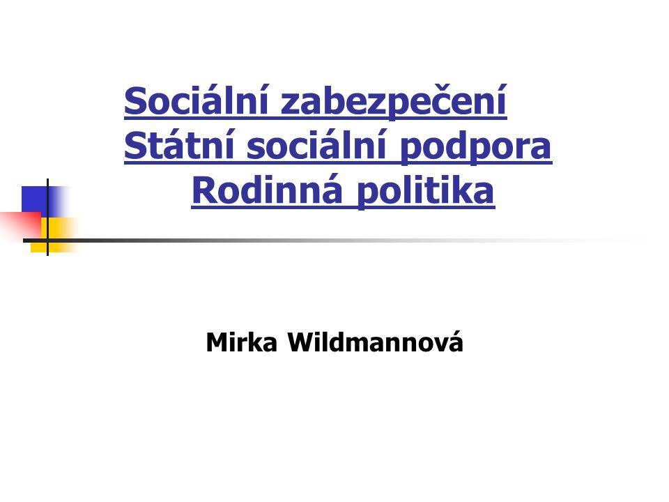 Sociální zabezpečení Státní sociální podpora Rodinná politika Mirka Wildmannová