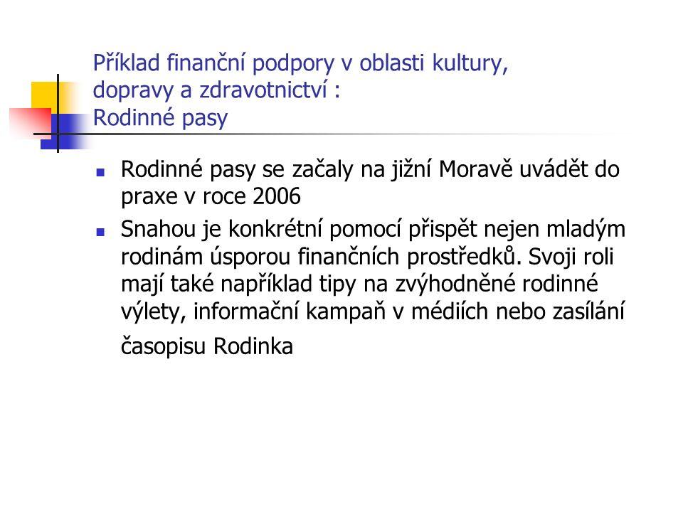 Příklad finanční podpory v oblasti kultury, dopravy a zdravotnictví : Rodinné pasy Rodinné pasy se začaly na jižní Moravě uvádět do praxe v roce 2006 Snahou je konkrétní pomocí přispět nejen mladým rodinám úsporou finančních prostředků.