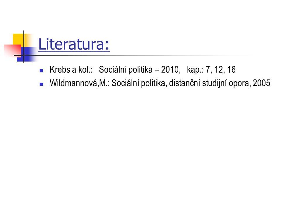 Literatura: Krebs a kol.: Sociální politika – 2010, kap.: 7, 12, 16 Wildmannová,M.: Sociální politika, distanční studijní opora, 2005