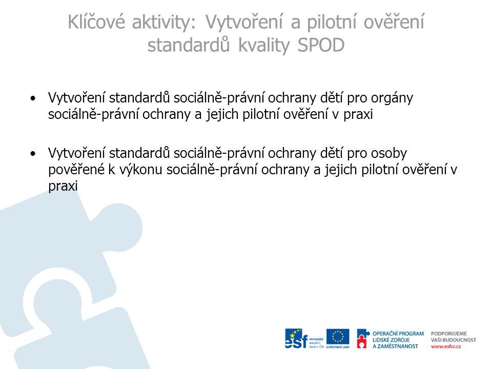 Klíčové aktivity: Vytvoření a pilotní ověření standardů kvality SPOD Vytvoření standardů sociálně-právní ochrany dětí pro orgány sociálně-právní ochra