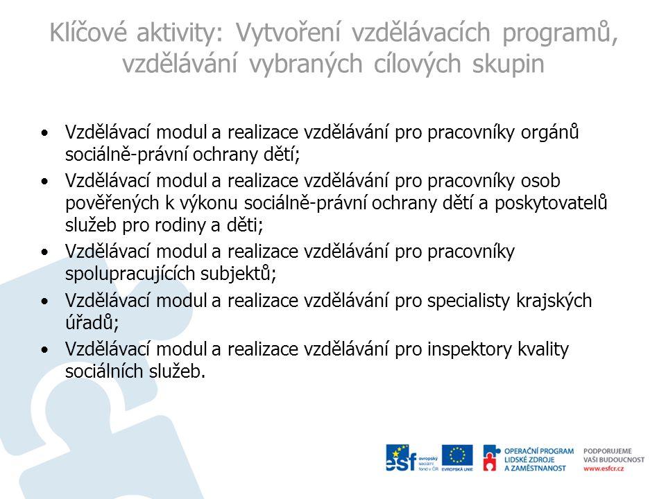 Klíčové aktivity: Vytvoření vzdělávacích programů, vzdělávání vybraných cílových skupin Vzdělávací modul a realizace vzdělávání pro pracovníky orgánů