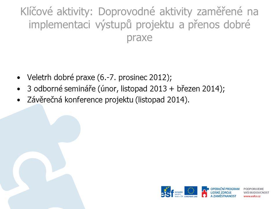 Klíčové aktivity: Doprovodné aktivity zaměřené na implementaci výstupů projektu a přenos dobré praxe Veletrh dobré praxe (6.-7. prosinec 2012); 3 odbo