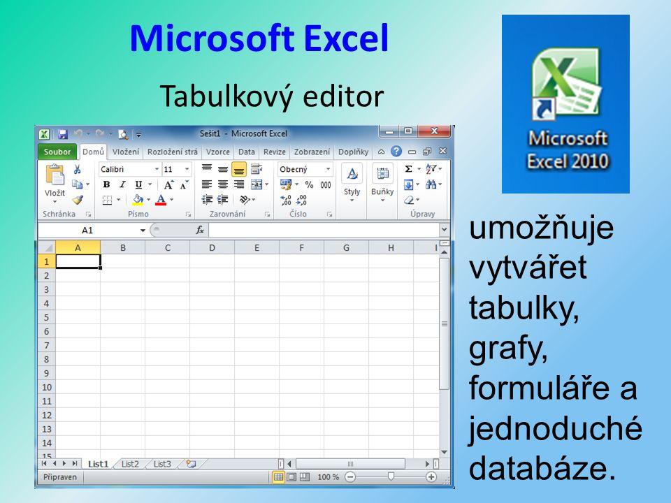 Microsoft Excel Tabulkový editor umožňuje vytvářet tabulky, grafy, formuláře a jednoduché databáze.
