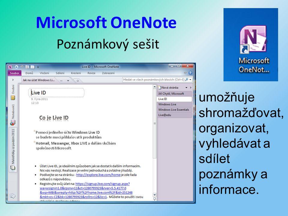 Microsoft OneNote Poznámkový sešit umožňuje shromažďovat, organizovat, vyhledávat a sdílet poznámky a informace.