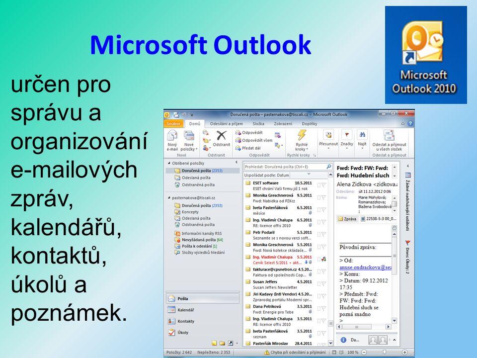 Microsoft Outlook určen pro správu a organizování e-mailových zpráv, kalendářů, kontaktů, úkolů a poznámek.