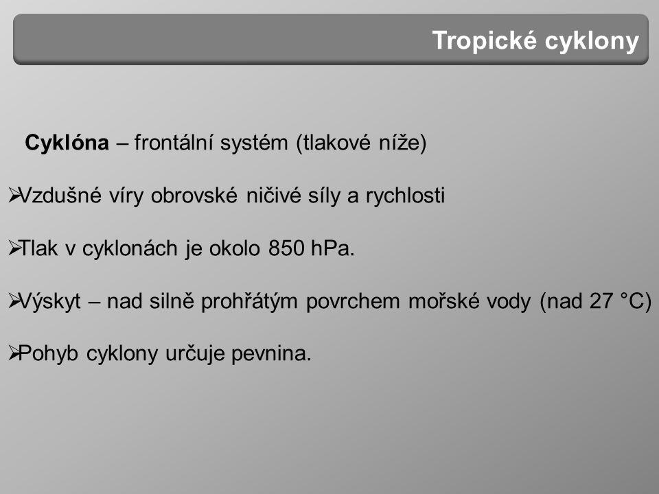 Cyklóna – frontální systém (tlakové níže)  Vzdušné víry obrovské ničivé síly a rychlosti  Tlak v cyklonách je okolo 850 hPa.