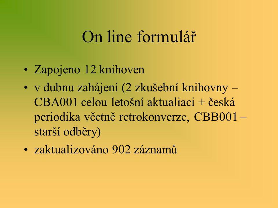 On line formulář Zapojeno 12 knihoven v dubnu zahájení (2 zkušební knihovny – CBA001 celou letošní aktualiaci + česká periodika včetně retrokonverze, CBB001 – starší odběry) zaktualizováno 902 záznamů