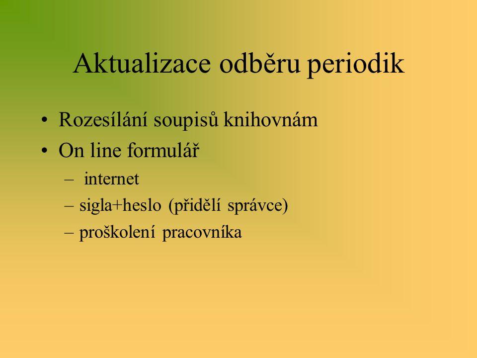 Aktualizace odběru periodik Rozesílání soupisů knihovnám On line formulář – internet –sigla+heslo (přidělí správce) –proškolení pracovníka