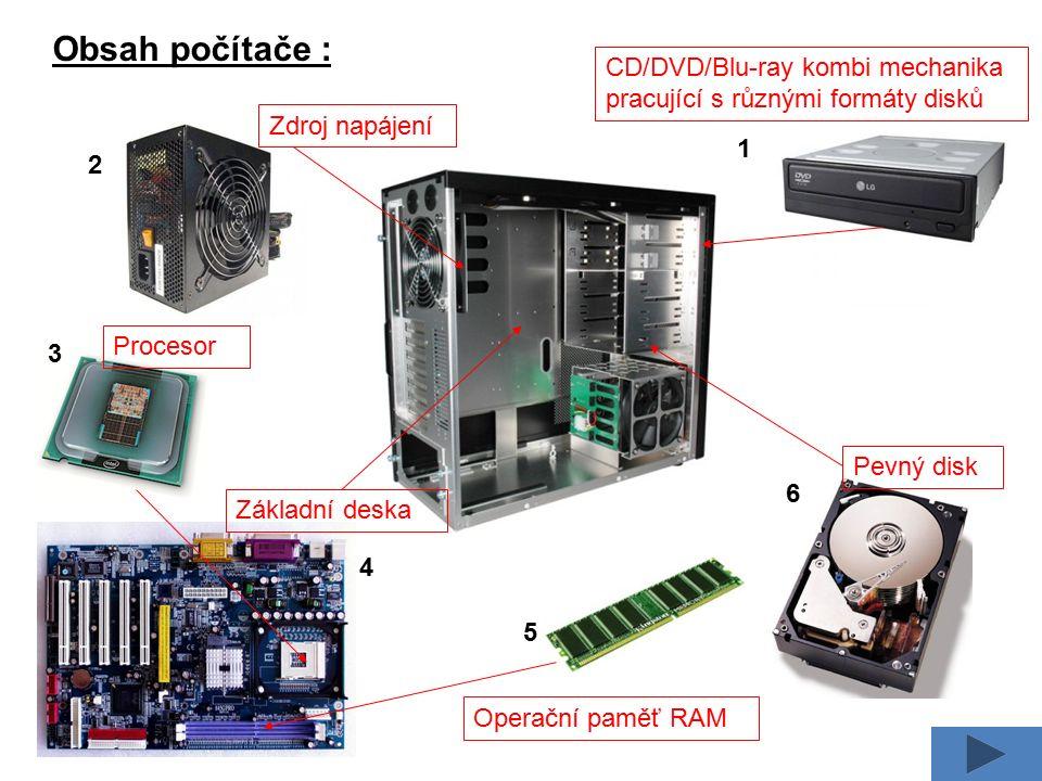 Obsah počítače : CD/DVD/Blu-ray kombi mechanika pracující s různými formáty disků Zdroj napájení Základní deska Procesor Operační paměť RAM Pevný disk 1 3 2 4 5 6
