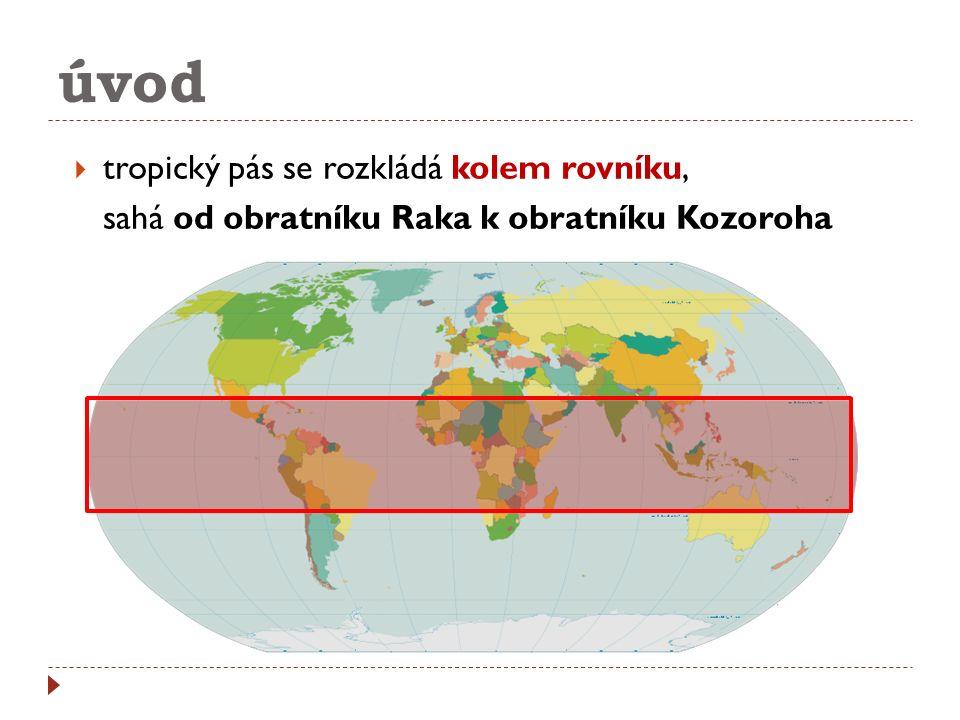 úvod  tropický pás se rozkládá kolem rovníku, sahá od obratníku Raka k obratníku Kozoroha