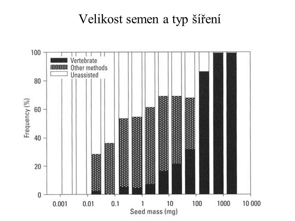 Velikost semen a typ šíření