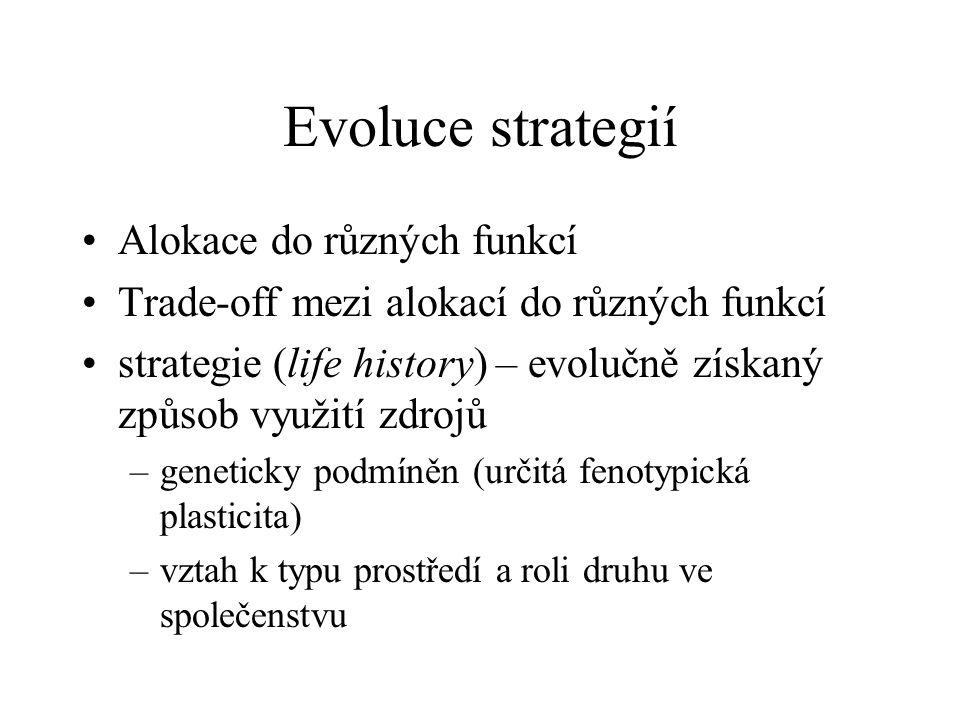 Evoluce strategií Alokace do různých funkcí Trade-off mezi alokací do různých funkcí strategie (life history) – evolučně získaný způsob využití zdrojů –geneticky podmíněn (určitá fenotypická plasticita) –vztah k typu prostředí a roli druhu ve společenstvu