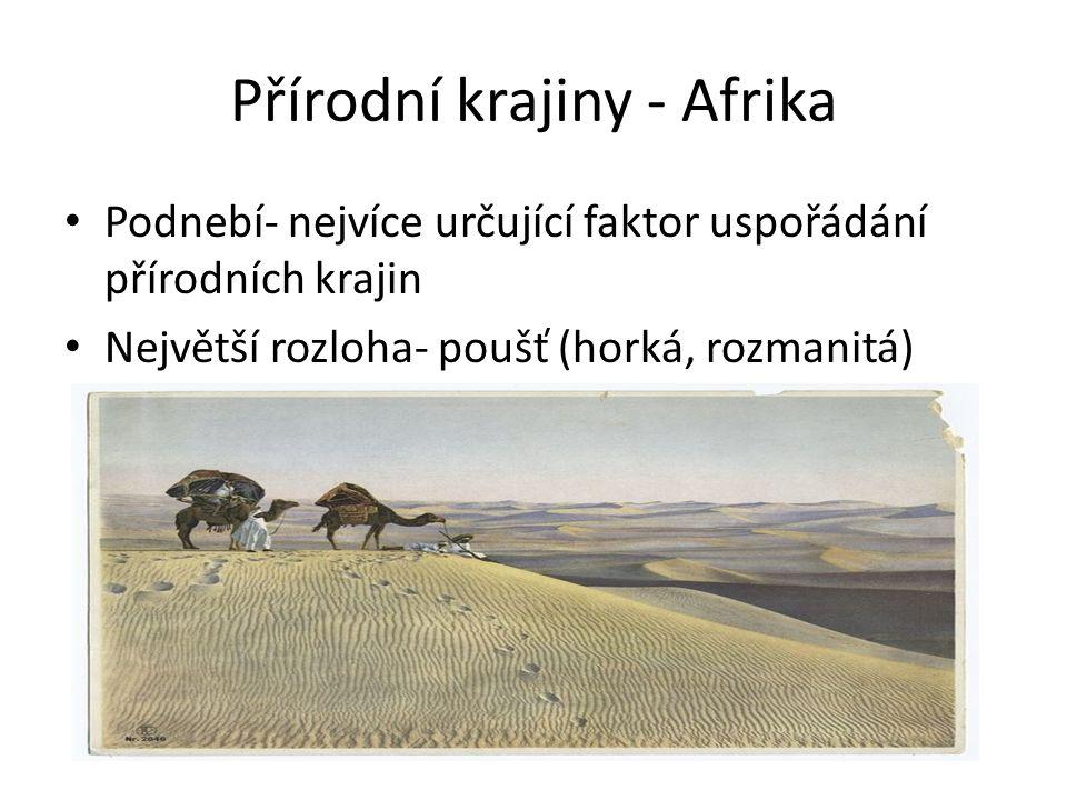 Přírodní krajiny - Afrika Podnebí- nejvíce určující faktor uspořádání přírodních krajin Největší rozloha- poušť (horká, rozmanitá)