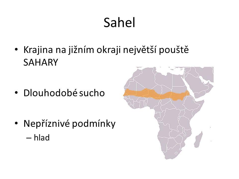 Sahel Krajina na jižním okraji největší pouště SAHARY Dlouhodobé sucho Nepříznivé podmínky – hlad