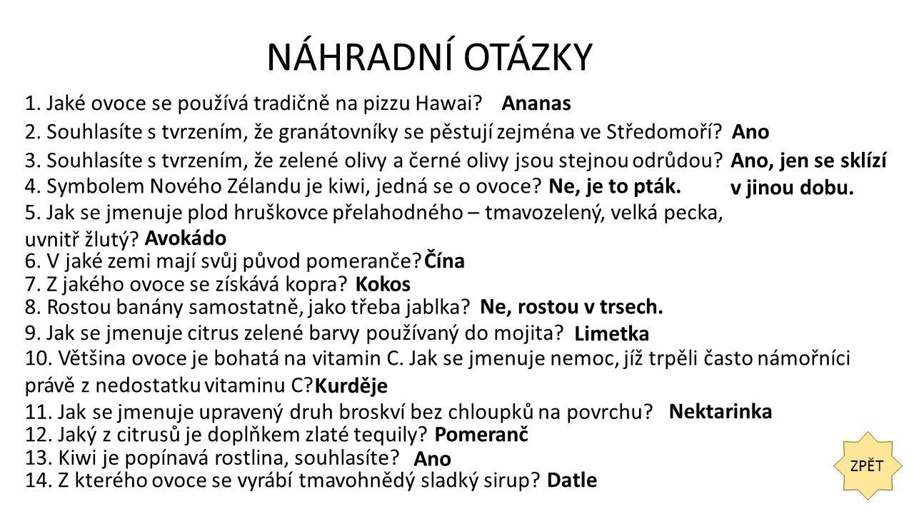 NÁHRADNÍ OTÁZKY ZPĚT 1. Jaké ovoce se používá tradičně na pizzu Hawai Ananas 2.