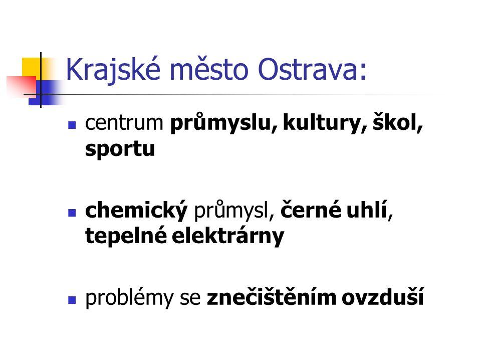 Krajské město Ostrava: centrum průmyslu, kultury, škol, sportu chemický průmysl, černé uhlí, tepelné elektrárny problémy se znečištěním ovzduší