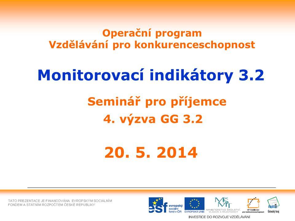 1 Operační program Vzdělávání pro konkurenceschopnost Monitorovací indikátory 3.2 Seminář pro příjemce 4. výzva GG 3.2 20. 5. 2014
