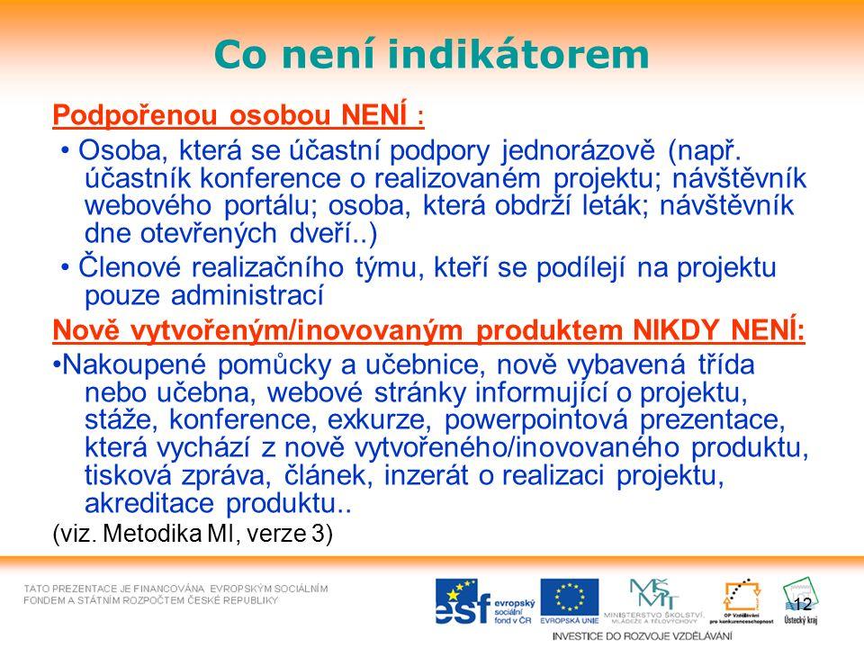 Co není indikátorem Podpořenou osobou NENÍ : Osoba, která se účastní podpory jednorázově (např. účastník konference o realizovaném projektu; návštěvní