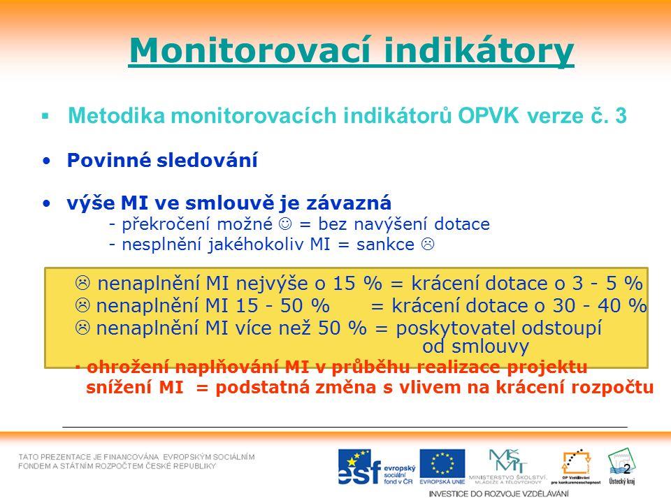 2 Monitorovací indikátory ▪ Metodika monitorovacích indikátorů OPVK verze č. 3 Povinné sledování výše MI ve smlouvě je závazná - překročení možné = be