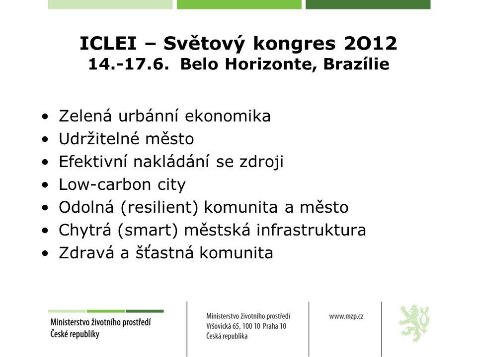ICLEI – Světový kongres 2O12 14.-17.6. Belo Horizonte, Brazílie Zelená urbánní ekonomika Udržitelné město Efektivní nakládání se zdroji Low-carbon cit