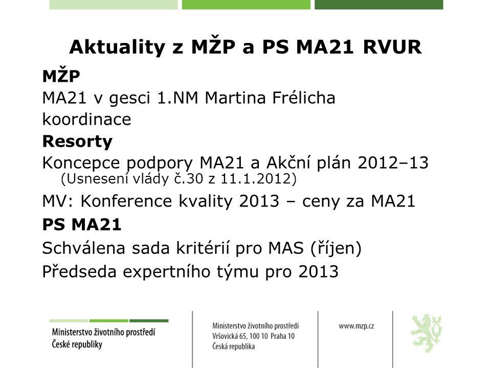Aktuality z MŽP a PS MA21 RVUR MŽP MA21 v gesci 1.NM Martina Frélicha koordinace Resorty Koncepce podpory MA21 a Akční plán 2012–13 (Usnesení vlády č.30 z 11.1.2012) MV: Konference kvality 2013 – ceny za MA21 PS MA21 Schválena sada kritérií pro MAS (říjen) Předseda expertního týmu pro 2013