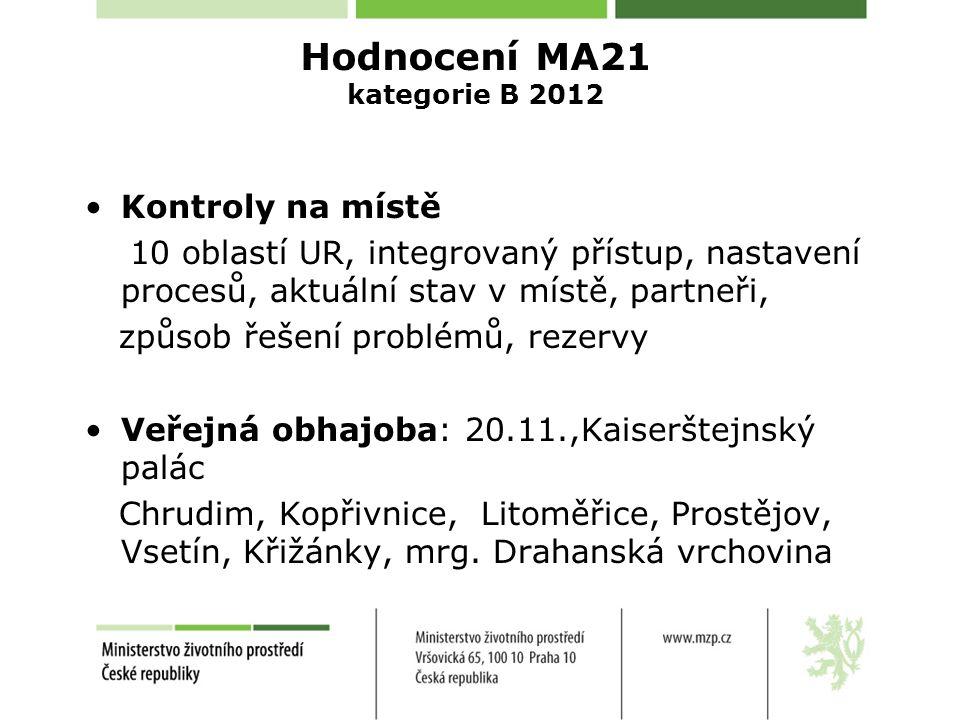 Hodnocení MA21 kategorie B 2012 Kontroly na místě 10 oblastí UR, integrovaný přístup, nastavení procesů, aktuální stav v místě, partneři, způsob řešen