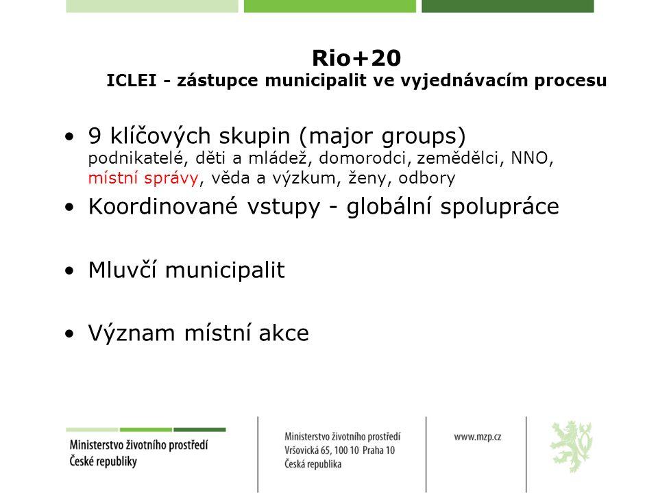 Rio+20 ICLEI - zástupce municipalit ve vyjednávacím procesu 9 klíčových skupin (major groups) podnikatelé, děti a mládež, domorodci, zemědělci, NNO, místní správy, věda a výzkum, ženy, odbory Koordinované vstupy - globální spolupráce Mluvčí municipalit Význam místní akce