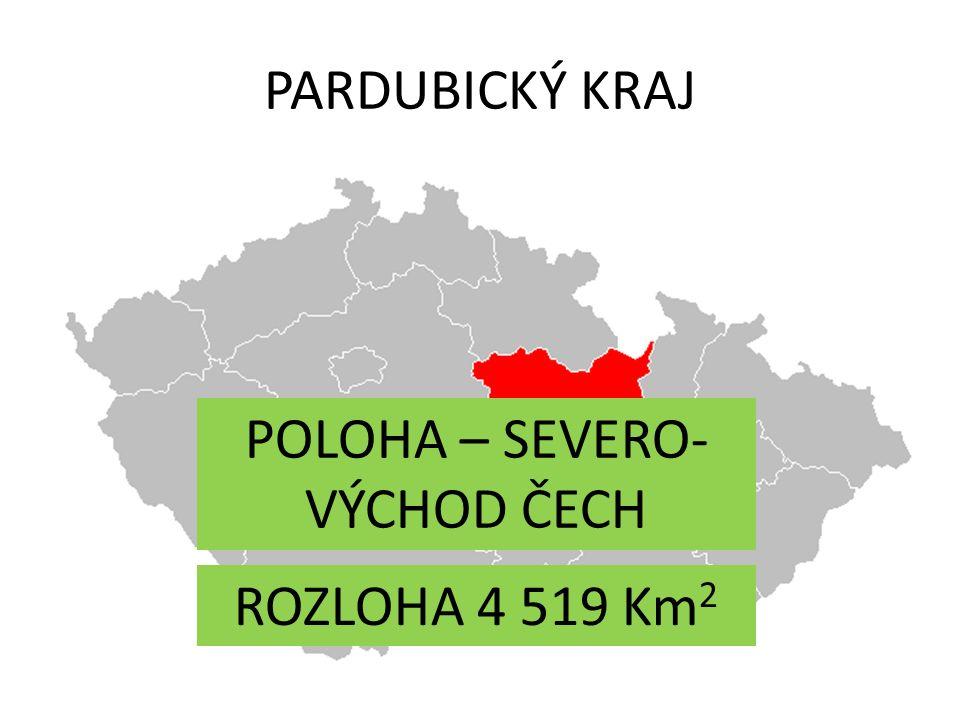 PARDUBICKÝ KRAJ ROZLOHA 4 519 Km 2 POLOHA – SEVERO- VÝCHOD ČECH