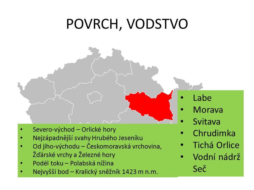 PRŮMYSL strojírenský průmysl – nejdůležitější průmysl v kraji oděvní, kožedělný, textilní průmysl chemický průmysl elektrotechnický průmysl potravinářský průmysl – v oblasti Polabské nížiny tepelné elektrárny – Chvaletice, Opatovice
