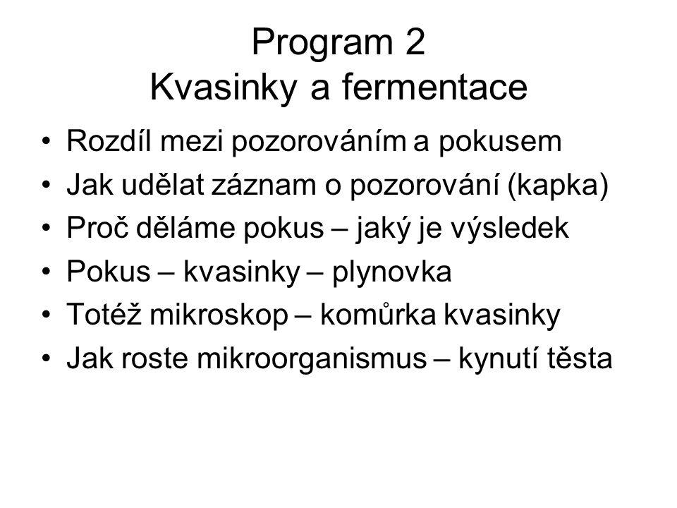 Program 2 Kvasinky a fermentace Rozdíl mezi pozorováním a pokusem Jak udělat záznam o pozorování (kapka) Proč děláme pokus – jaký je výsledek Pokus – kvasinky – plynovka Totéž mikroskop – komůrka kvasinky Jak roste mikroorganismus – kynutí těsta