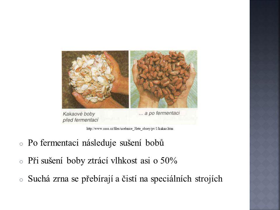 Fermentace o Fermentace probíhá ve speciálních nádobách o Délka fermentace je 1-6 dní o Teplota při fermentaci je nejprve kolem 40°C, posléze se zvyšuje až na 50°C o Při fermentaci se odbourává trpká chuť bobů o Při fermentaci boby získávají chuť, barvu a aroma