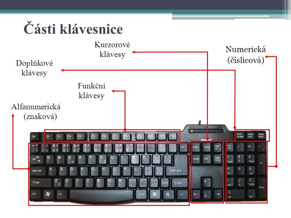 Části klávesnice Alfanumerická (znaková) Kurzorové klávesy Numerická (číslicová) Doplňkové klávesy Funkční klávesy
