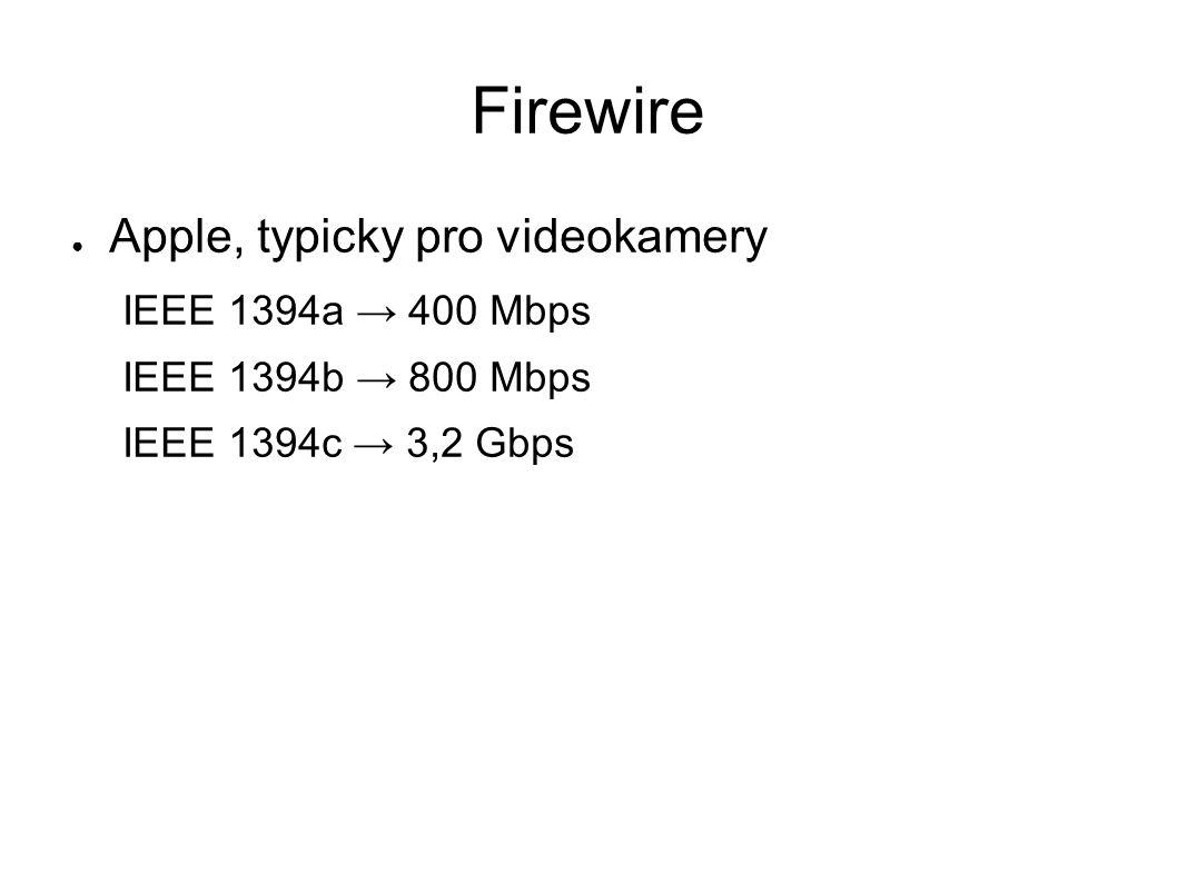 Firewire ● Apple, typicky pro videokamery IEEE 1394a → 400 Mbps IEEE 1394b → 800 Mbps IEEE 1394c → 3,2 Gbps