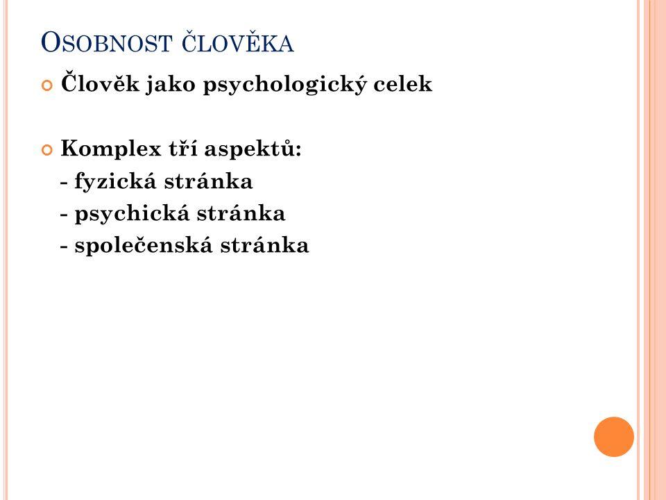 O SOBNOST ČLOVĚKA Člověk jako psychologický celek Komplex tří aspektů: - fyzická stránka - psychická stránka - společenská stránka
