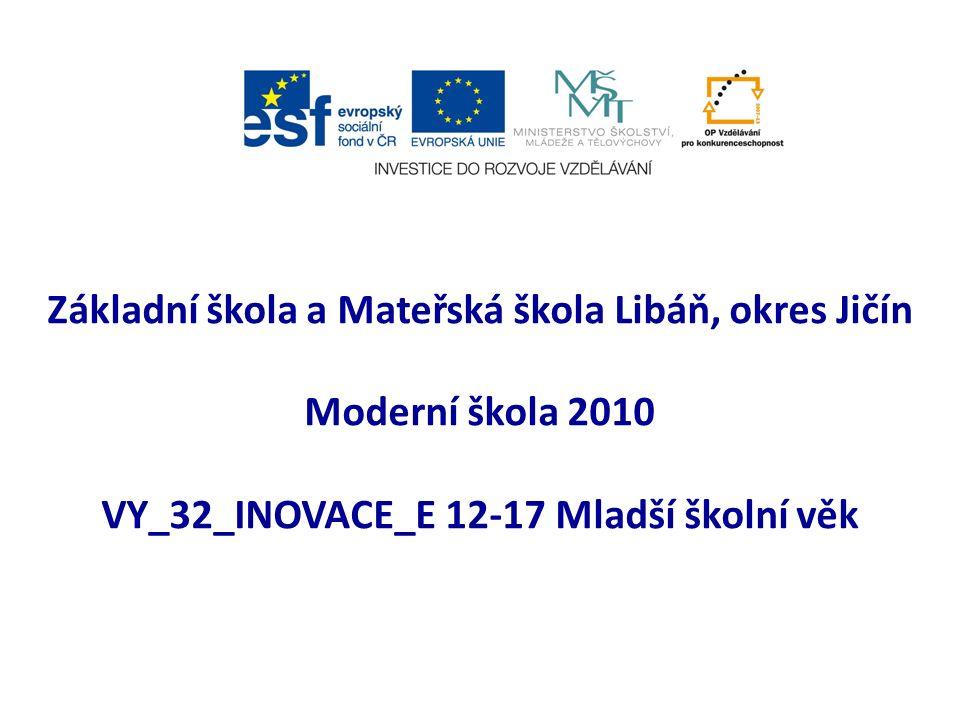 Základní škola a Mateřská škola Libáň, okres Jičín Moderní škola 2010 VY_32_INOVACE_E 12-17 Mladší školní věk