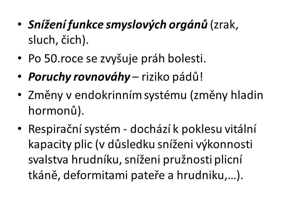 Snížení funkce smyslových orgánů (zrak, sluch, čich).