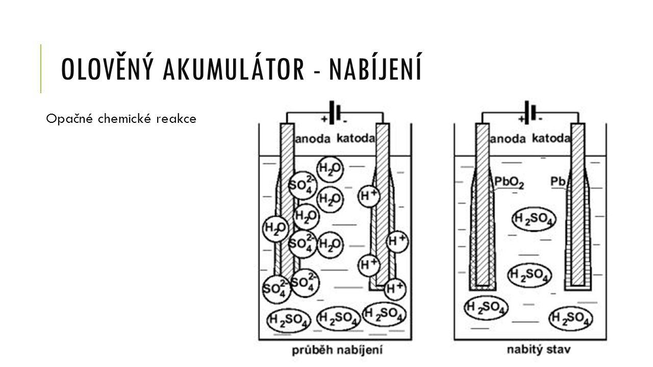 OLOVĚNÝ AKUMULÁTOR - NABÍJENÍ Opačné chemické reakce