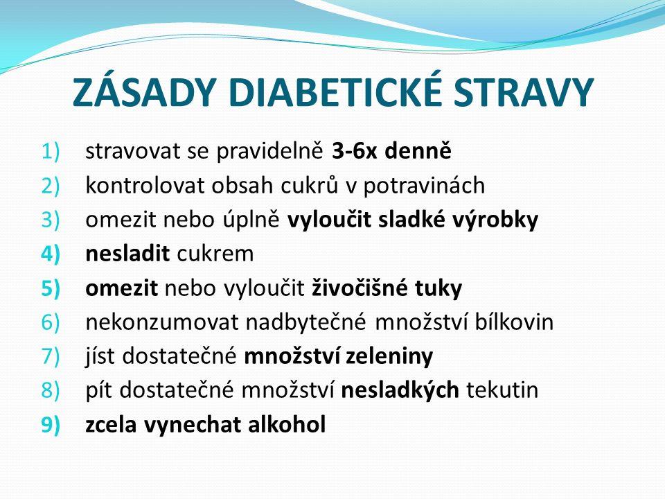 ZÁSADY DIABETICKÉ STRAVY 1) stravovat se pravidelně 3-6x denně 2) kontrolovat obsah cukrů v potravinách 3) omezit nebo úplně vyloučit sladké výrobky 4) nesladit cukrem 5) omezit nebo vyloučit živočišné tuky 6) nekonzumovat nadbytečné množství bílkovin 7) jíst dostatečné množství zeleniny 8) pít dostatečné množství nesladkých tekutin 9) zcela vynechat alkohol