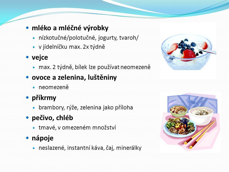 mléko a mléčné výrobky nízkotučné/polotučné, jogurty, tvaroh/ v jídelníčku max.
