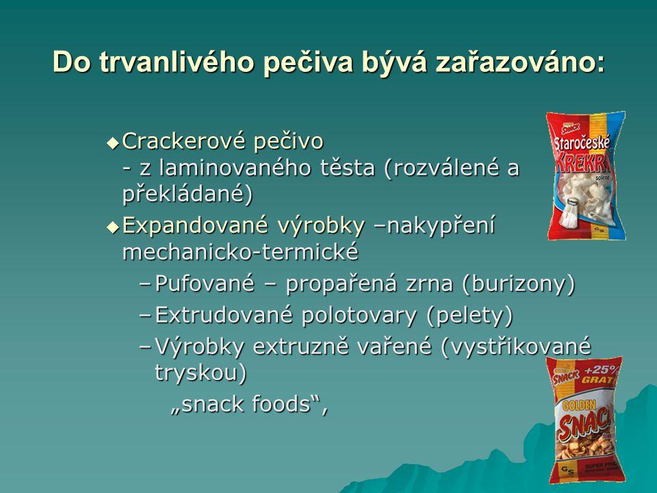 """Do trvanlivého pečiva bývá zařazováno:  Crackerové pečivo - z laminovaného těsta (rozválené a překládané)  Expandované výrobky –nakypření mechanicko-termické –Pufované – propařená zrna (burizony) –Extrudované polotovary (pelety) –Výrobky extruzně vařené (vystřikované tryskou) """"snack foods ,"""