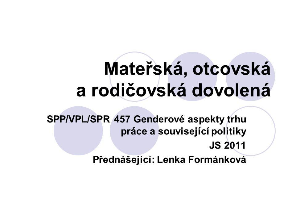 Mateřská dovolená Cíl:  Ochrana matek na trhu práce v době před a po porodu.