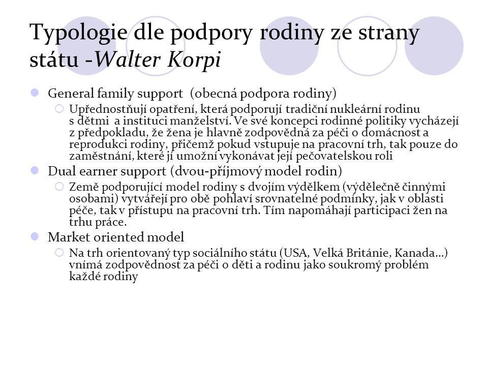 Typologie dle podpory rodiny ze strany státu -Walter Korpi General family support (obecná podpora rodiny)  Upřednostňují opatření, která podporují tradiční nukleární rodinu s dětmi a instituci manželství.