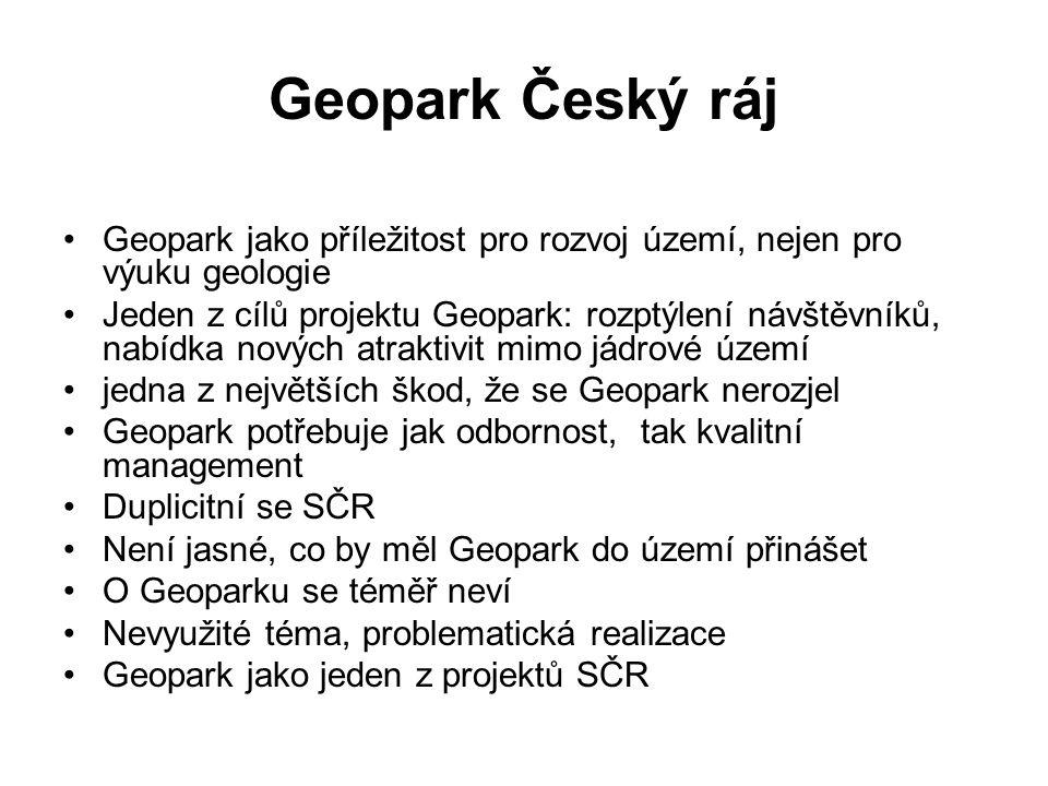 Geopark Český ráj Geopark jako příležitost pro rozvoj území, nejen pro výuku geologie Jeden z cílů projektu Geopark: rozptýlení návštěvníků, nabídka nových atraktivit mimo jádrové území jedna z největších škod, že se Geopark nerozjel Geopark potřebuje jak odbornost, tak kvalitní management Duplicitní se SČR Není jasné, co by měl Geopark do území přinášet O Geoparku se téměř neví Nevyužité téma, problematická realizace Geopark jako jeden z projektů SČR