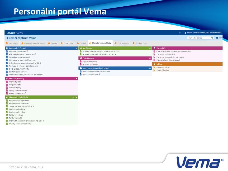 Stránka 2, © Vema, a. s. Personální portál Vema