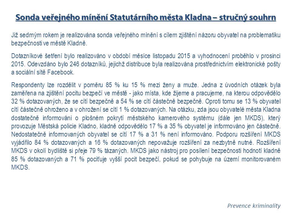 Sonda veřejného mínění Statutárního města Kladna – stručný souhrn Již sedmým rokem je realizována sonda veřejného mínění s cílem zjištění názoru obyvatel na problematiku bezpečnosti ve městě Kladně.