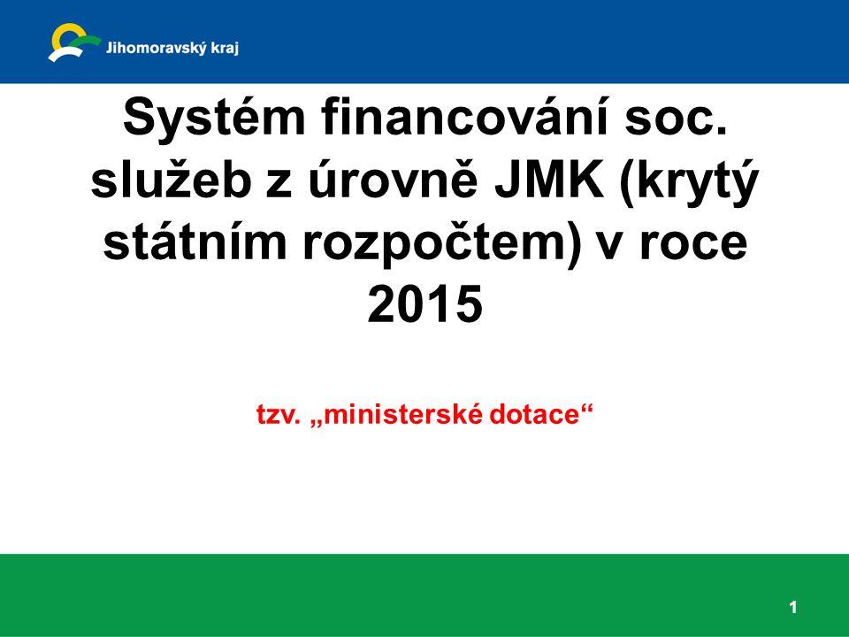 Systém financování soc. služeb z úrovně JMK (krytý státním rozpočtem) v roce 2015 tzv.