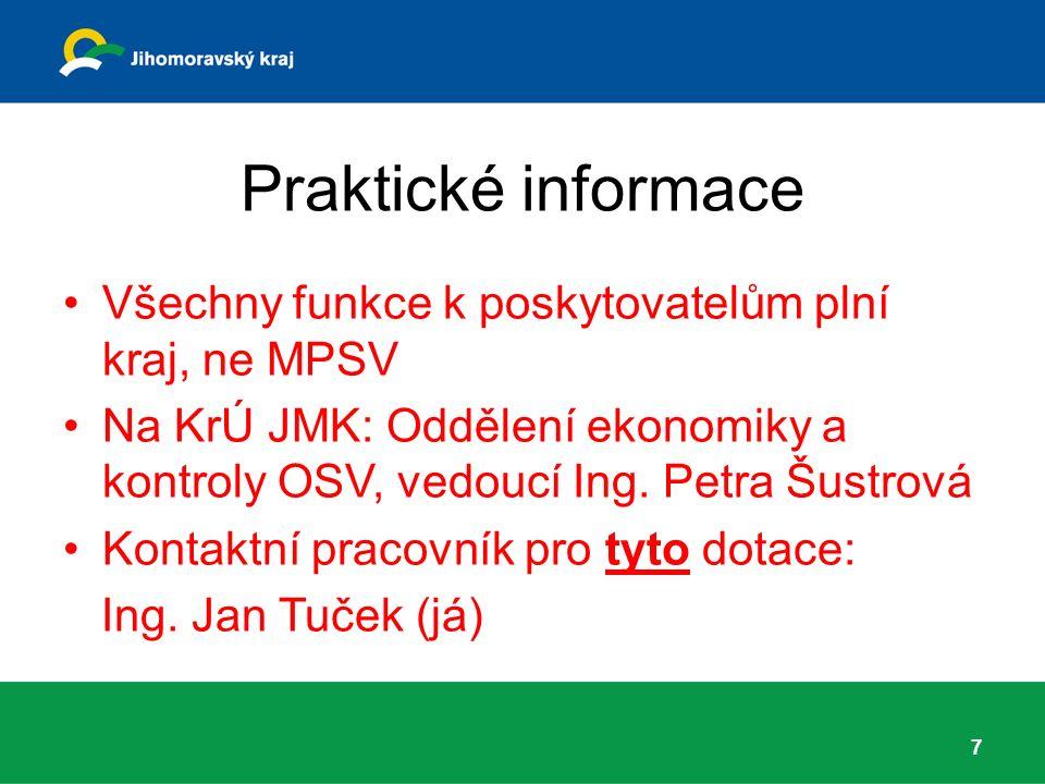 Praktické informace Všechny funkce k poskytovatelům plní kraj, ne MPSV Na KrÚ JMK: Oddělení ekonomiky a kontroly OSV, vedoucí Ing.